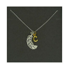 Lily Charmed NEW! Sterling Silver Large Feather & Gold Plated Initial C Necklace