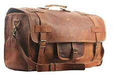 "* SBazar * 20"" LEATHER DUFFEL VINTAGE TRAVEL BAG MEN'S HAND LUGGAGE WEEKEND HOLD"