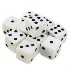 10pcs Six Sided Square Opaque 16mm D6 Dice White with Black Pip Die New
