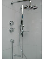 ALL METAL CHROME THERMOSTATIC 3 WAY SHOWER TAP VALVE, DUAL SHOWER & BATH SET 090