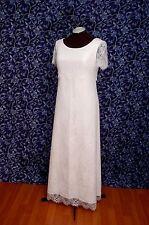 Eyelash Lace over Ivory Crinkle Satin Short Sleeve Wedding Informal Dress 14