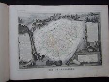 ancienne gravure carte Département Corrèze - 50 par 36 cm - Levasseur - 1845