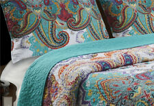 TWIN Size 2-Piece Quilt Set Reversible Paisley Turquoise Teal Cotton Bedding