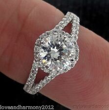 Real 14K White gold 1.43 carats Round Brilliant cut Solitaire Engagement Ring