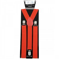 NEW PUNK GOTHIC ROCK ROCKABILLY CASUAL CLIP ON Y-SHAPE SUSPENDERS ~ RED #SP-34