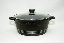24CM DIE CAST NON STICK DEEP INDUCTION CASSEROLE POT COOKWARE GLASS LID BLACK