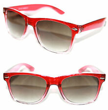 Men's Women's Wayfarer Nerd Sunglasses Red clear Frame Square Retro Vintage