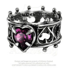 Alchemy Gothic Elizabethan Ring Sz 6 - Dark LOVE HEART Lord Dudley's DEVOTION