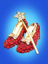 WIZARD OF OZ DOROTHY WAND RUBY RED SHOES SHOE SLIPPER SLIPPERS PIN BROOCH 2""