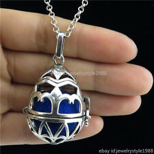 Vintage Silver Luminous Beads Peace Egg Diffuser Aroma Oils Locket Necklace 20''