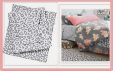 Victoria's Secret PINK leopard BED SHEETS case dorm gray white cheetah  TWIN XL