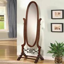 Accent Swivel Standing Full Length Oval Cheval Floor Mirror Wood in Brown Red