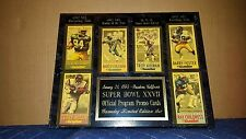 Super Bowl XXVII Gameday Limited Edition Promo Cards Plaque!
