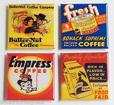 Coffee FRIDGE MAGNET Set butternut empress bohack lady fair can label matchbook