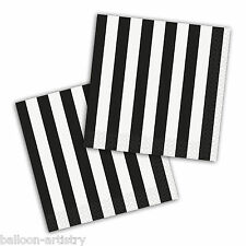 16 BLACK White Stripes Style Party Disposable 25cm Paper Beverage Napkins