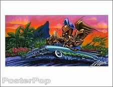 Pizz Weekend Gods Hand Signed Print Tiki Drink Hotrod Hawaii Vacation Painting
