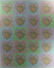 "60 BUNNY RABBIT LOVE ROUND STICKERS 3 Sheets 2"" Peel Stick Heart Farm Animal"