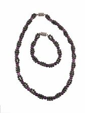 Zen Canyon Magnetic Hematite Clusters with Amethyst Beads Bracelet Necklace Set