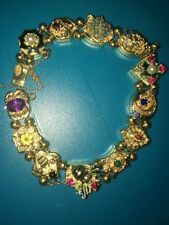 Antique Victorian 14k gold slide bracelet with 12 gemstones slide charms 7 1/2""