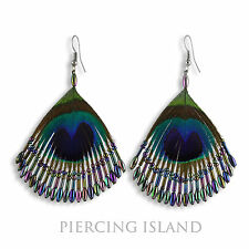 Super Pfauenfeder Pfau Feder Design Ohrringe Peacock Feather Earrings ER268