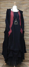 LAGENLOOK AMAZING LOVELY QUIRKY 3 PCS DRESS+CARDIGAN+PETTICOAT*BLACK/WINE*SIZE L