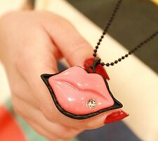 Women Girls Cute Retro Vintage Pink Lips Party Necklace Long Chain Pendant
