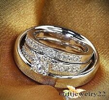 Men & Ladies 14k White Gold Over Trio Set Wedding Engagement Rings Bridal Sets