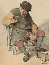 ADRIAEN VAN OSTADE DUTCH SEATED PEASANT JUG OLD ART PAINTING POSTER BB5004A