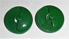 Vintage Art Deco Carved Geometric Design Green Glass Buttons 23mm