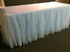 Light/Baby Blue Tulle Tutu Table Skirt With Top Cloth for 6ft Trestle Table