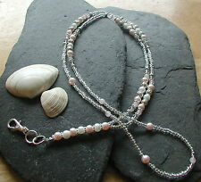 """Pearly Pink"" Glass Beads Handmade ID Lanyard Badge Holder ID Necklace"