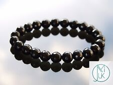 Facelet Black Onyx Natural Gemstone Bracelet 7-8'' Elasticated Healing Stone