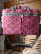 NEW STUDIO C LAPTOP TOTE NEOPRENE FUSHIA PINK PRINT& GRAY SATCHEL SHOULDER STRAP