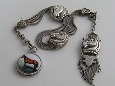 SUPERB SOLID SILVER HORSE RELATED WATCH CHAIN WITH SILVER ENAMEL HORSE FOB