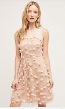 Anthropologie Eva Franco Flutter Fleur Dress 8 Tulle Flower Blush Pink USA