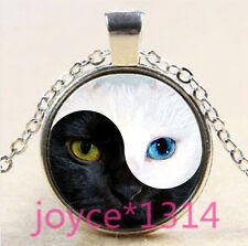 VINTAGE Yin yang cat  Cabochon Tibetan silver Glass Chain Pendant Necklace #3353