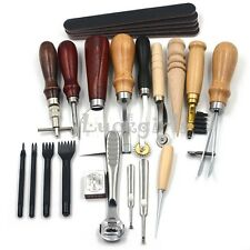Leather Craft Punch Tools Kit Stitching Carving Working Sewing Saddle Groover 18