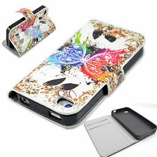 Flip Leather ID Wallet Pouch Phone Soft Gel Case Cover For Apple iPhone 4 4S 4G