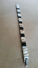 "UNISEX BLACK ONYX STAINLESS STEEL BRACELET 7 1/2"" LONG"