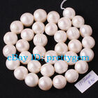 11-12MM NATURAL NEARLY ROUND WHITE FRESHWATER PEARL SPACER BEADS STRAND 15""
