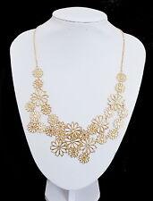 XL Halskette Statement Kette Filigrann Blumen Vergoldet Collier 55 cm B 6 cm
