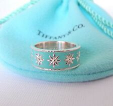 Tiffany & Co Size 5 Turquoise Blue Enamel Silver Daisy Flower Ring Band New!