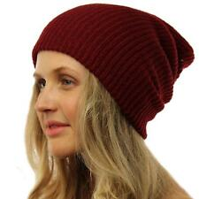 Winter Made in USA 2ply Stretch Knit Slouch Long Beanie Skully Ski Hat Cap Wine