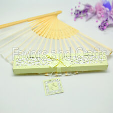 10 Chinese Ivory Silk Fans Hand Boxed Wedding Folding Favors Bridal Shower Lot