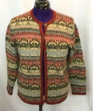 Northern Reflections Sweater Medium Rust Green Blue Cardigan Hand Embroidered