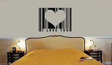Wall Stickers Vinyl Decal I Love You Heart Romantic For Bedrooms Barcode ig1554