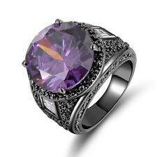 Size 10 Amethyst 10KT Black Gold Filled Wedding Engagement Ring Gift For Men's