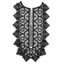Black Embroidered Lace Neckline Collar Organza Trim Applique Patches T1059