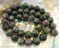 Natural Zoisite Red Green 6mm Round Gemstone Loose Beads Strand 15""