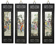 Large Set of 4 Chinese Famille Rose Painting Porcelain Wall Hanging Plaque